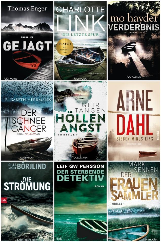 Das Bild zeigt die Cover von neun Krimis, auf denen jeweils gestrandete Ruderboote am Ufer dunkler Seen zu abgebildet sind.